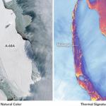 NASA показало фото треснувшего гигантского айсберга
