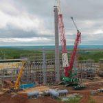 На стройплощадке «ТАНЕКО» монтируют крупнотоннажное оборудование газофракционирующей установки