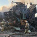 Появились кадры с места столкновения поездов в Белгородской области