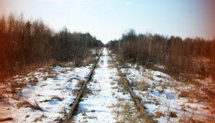 Железная дорога к ЦХОЯТ в Чернобыльской зоне